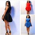 Mujeres de la manera atractiva mini dress nuevo fit flare sling halter asimétrico dobladillo volante de color sólido plisado sin mangas de dress