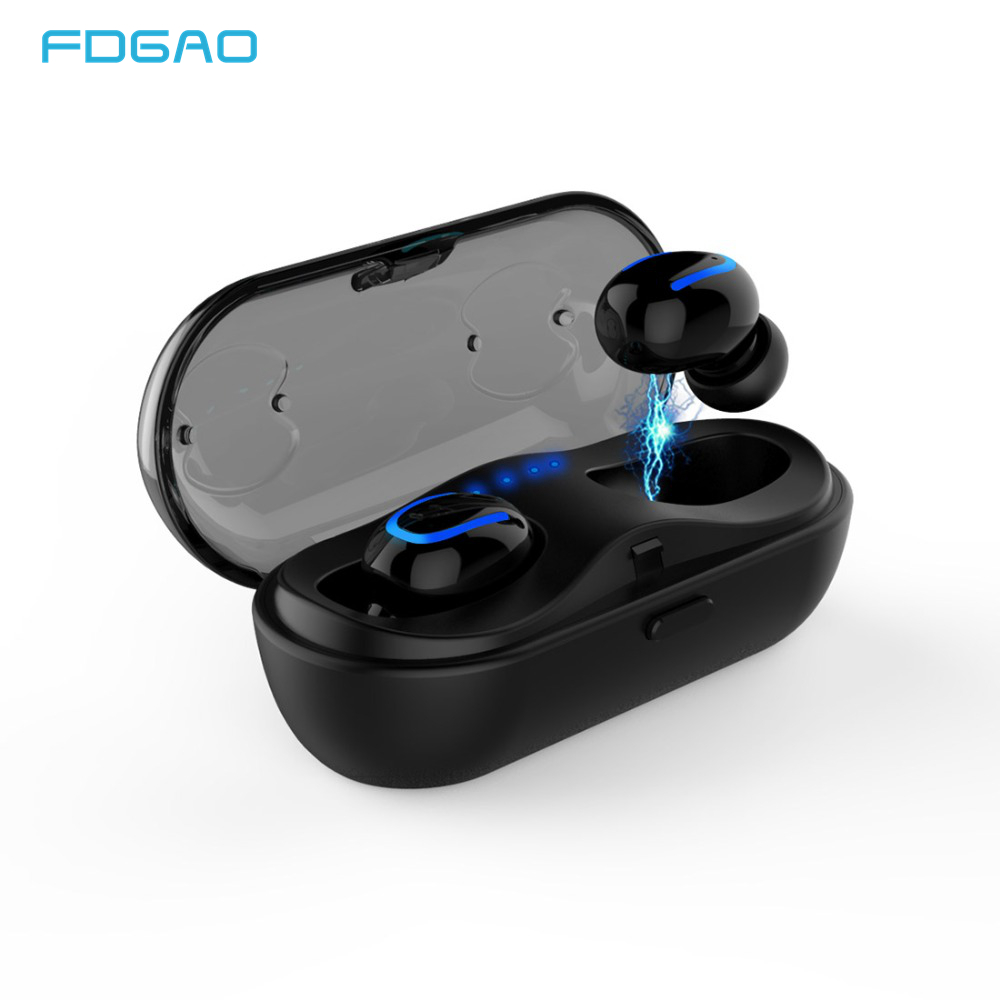 FDGAO Wireless 5.0 Bluetooth Earphone Headset Music Waterproof Headphone With Charging Box Mic for iPhone Samsung Xiaomi Huawei