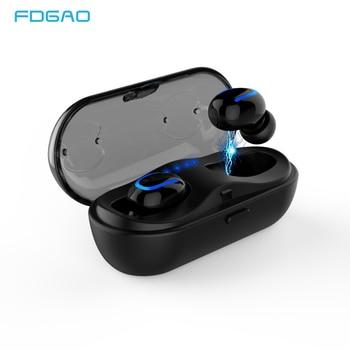 FDGAO Wireless 5.0 Bluetooth Earphone Headset Music Waterproof Headphone With Charging Box Mic for iPhone Samsung Xiaomi Huawei