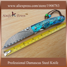 DS053 hot selling damascus steel blue abalone shell handle folding outdoor knife camping knives survival knife