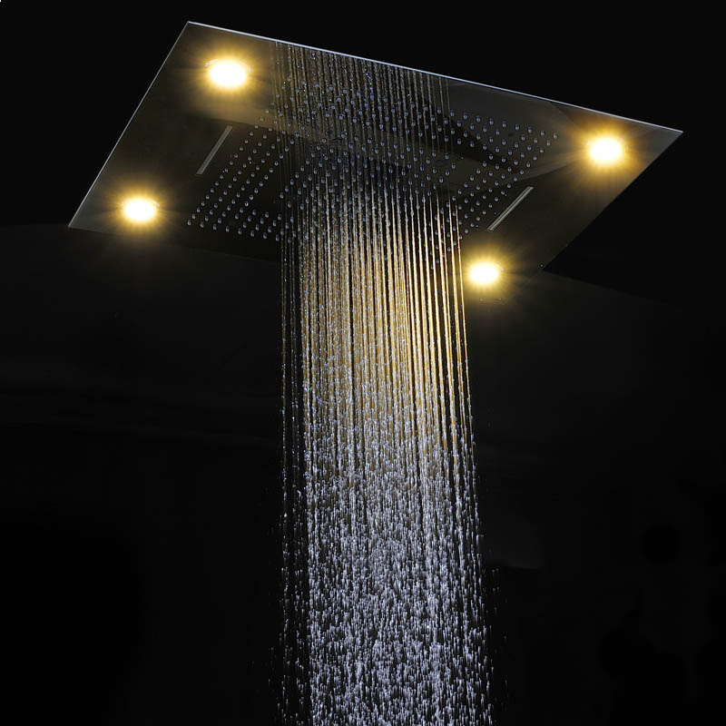 Modern LED Shower Set Ceiling Large Rain Shower Head Massage Waterfall  Shower Faucets Panel With 4 Way Shower Diverter Valve In Shower Heads From  Home ...