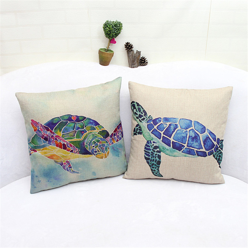 Set of 2 pcs Wash Painting Tortoise Linen Fabric Throw Pillow Cases Square Cushion Cover 44x44cm for Sofa Couch Home Decor