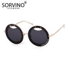 feb732a10f SORVINO 2018 Rétro Impression Surdimensionné lunettes de soleil rondes  Femmes Unique Designer Épais Cadre Steampunk lunettes de .