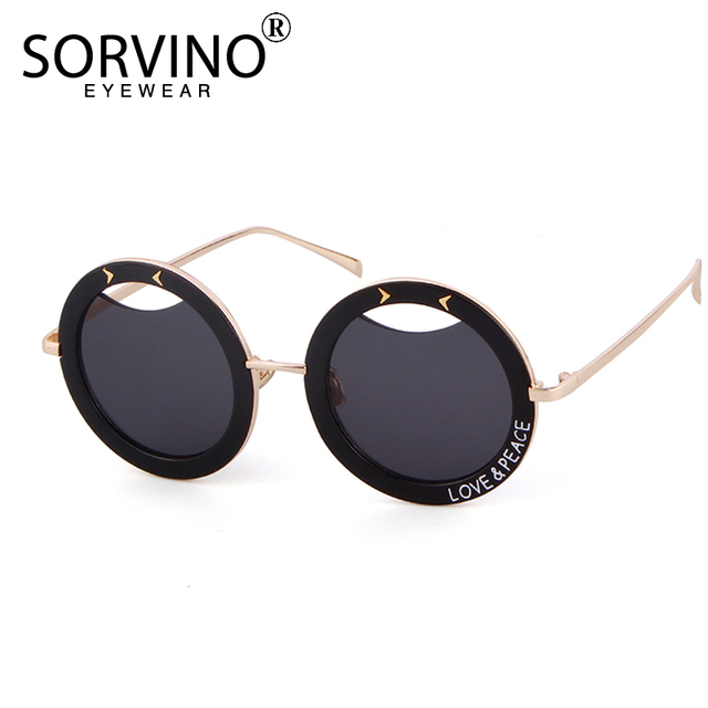388b57cb2a SORVINO 2018 Retro Oversized Print Round Sunglasses Women Unique Designer  Thick Frame Steampunk Mirror Sun Glasses Shades SVN61