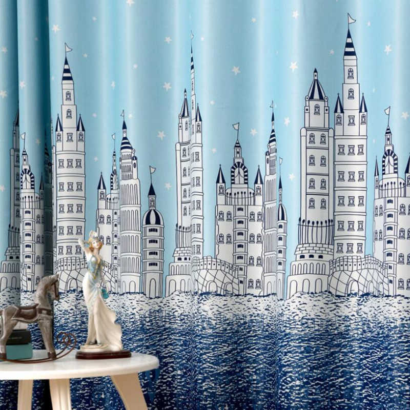 Мультяшная занавеска замок для гостиной, окна, спальни, детская комната для мальчиков, небесно-голубые занавески с принтом s, вуаль, прозрачная ткань T & 230 #30