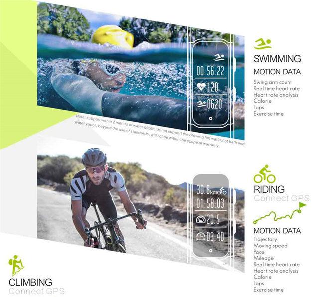 2debae88cec HOT IP68 Nadar Relógio Inteligente GPS Corrida Ciclo Subida Montre ...