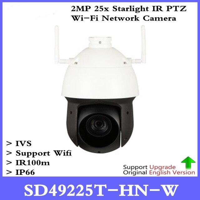 DH Original English version 2MP 25x Starlight IR PTZ Wi-Fi Network Camera SD49225T-HN-W Without logo , Free Shipping