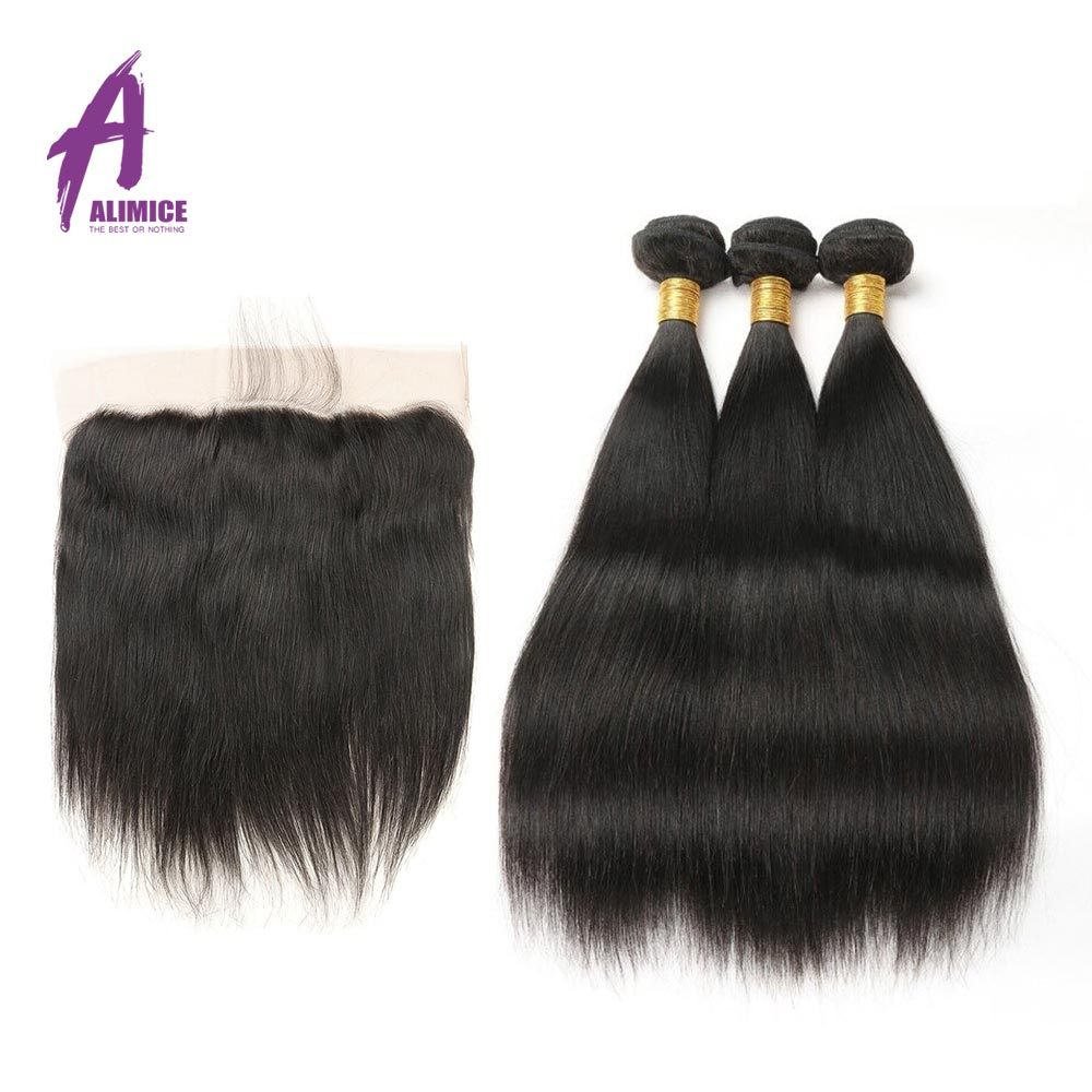 Brazilian Straight Human Hair Weave Hair Weft 3 Bundles With Closure Alimice Non Remy Hair Lace