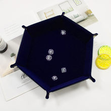 PU Leather Hexagon Foldable Dice Trays Collapsible Rolling Tray Table Games Desktop Decorative Storage Box Tray 2019 new(China)