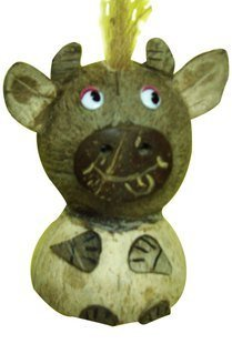 Coconut Shell Carving  Handicraft Cow, 2pcs /lot, Valentine /Easter gift,  Best selling
