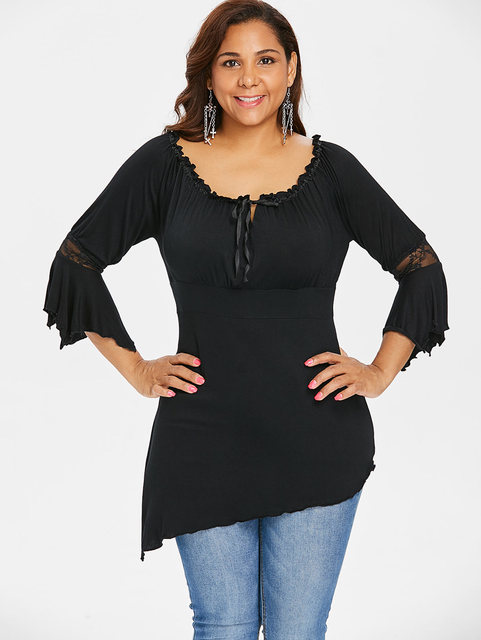 8b9d9299db3f3 wipalo Women Plus Size Lace Empire Waist Three Quarter O-Neck Black blouse  Self Tie Ruffle Tunic Asymmetric Tops and blouse 5XL