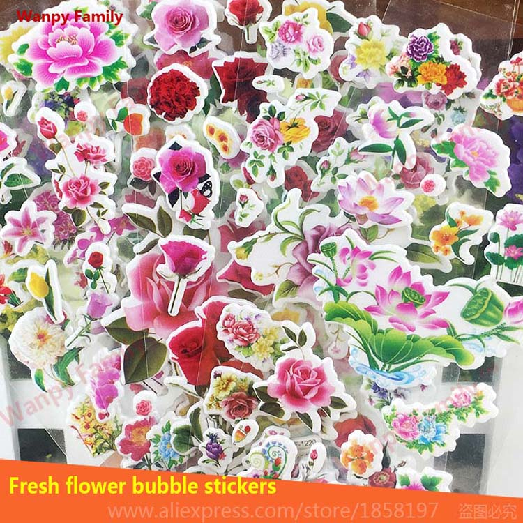 Very Beautiful Flowers stickers Peony Rose Flowers Mini Bubble stickers for Kids Birthday Gift Decoration Stickers