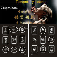 New 234 Designs Temporary Airbrush Tattoo Stencil Book Temporary Glitter Airbrush Henna Tattoo Templates Stencil For Painting