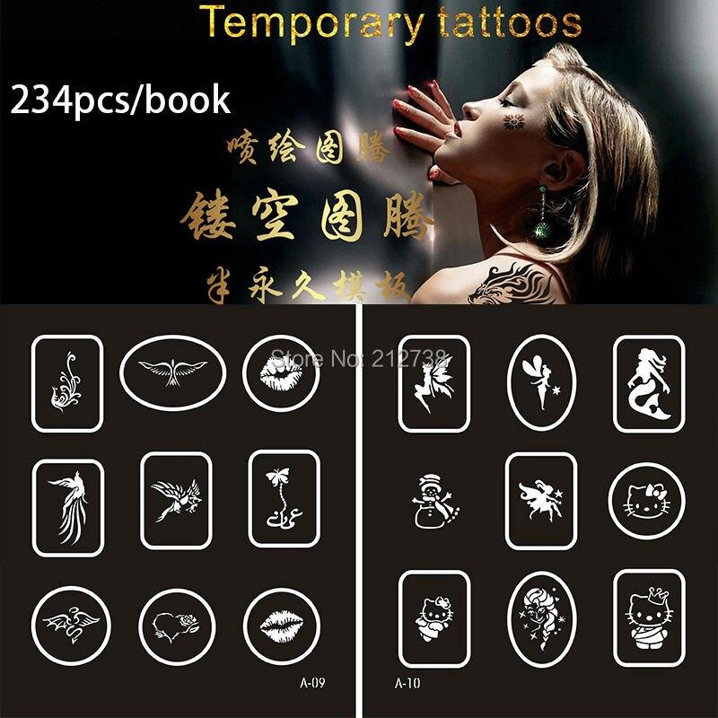 Nouveau 234 dessins temporaire aérographe tatouage pochoir livre temporaire paillettes aérographe henné tatouage modèles pochoir pour peinture