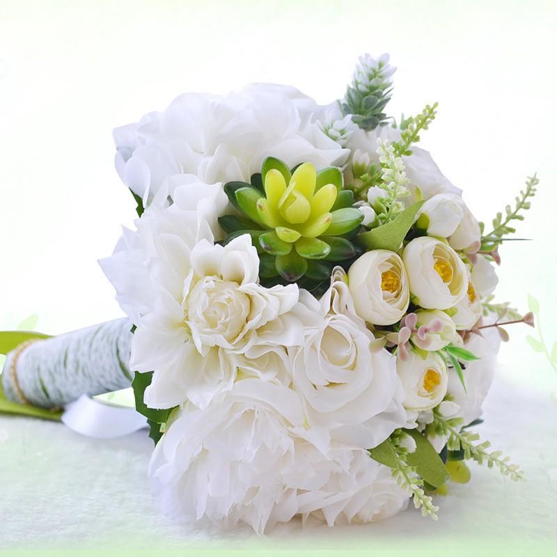 Bouquet De Mariee Blanc Rose Purple Wedding Bouquets Waterfall Artificial Wedding Flowers Bridal Bouquets Roze Bride Bouquets