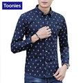 New Brand Clothing Printed Shirt Men Long Sleeve Slim Fit Camisa Social Masculina Single Breasted Chemise Homme Plus Size XXXL