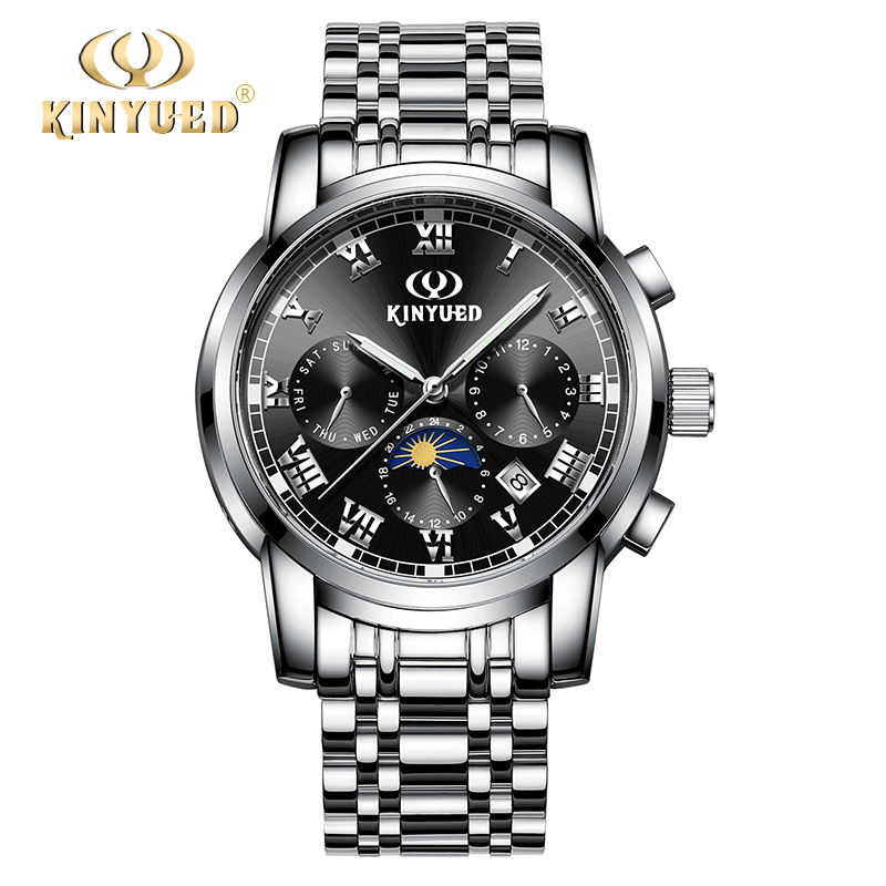 купить KINYUED Top Brand Luxury Mens Automatic Watches Moon Phase Calendar Full Steel Men Mechanical Self-wind Watch reloj hombre 2018 дешево