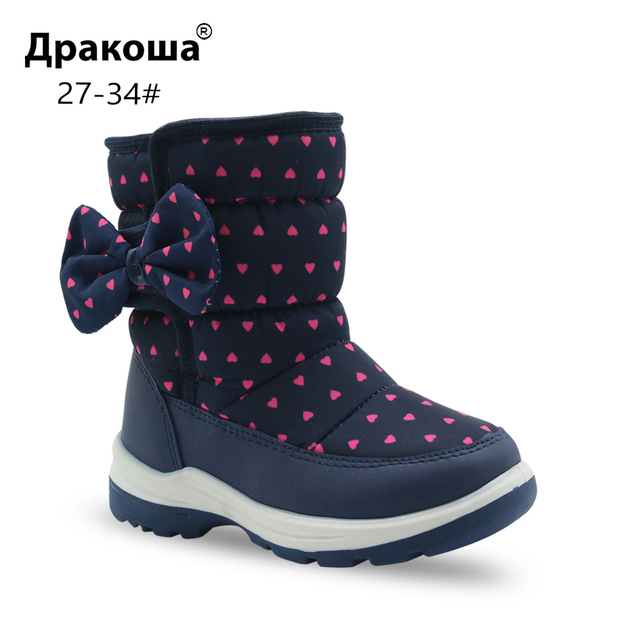 dddd69a7c7c8 Apakowa Girls Snow Boots Children s Fashion Mid-Calf Woolen Lining Winter  Boots for Little Girl Kid Sleet Weather Shoes with Bow