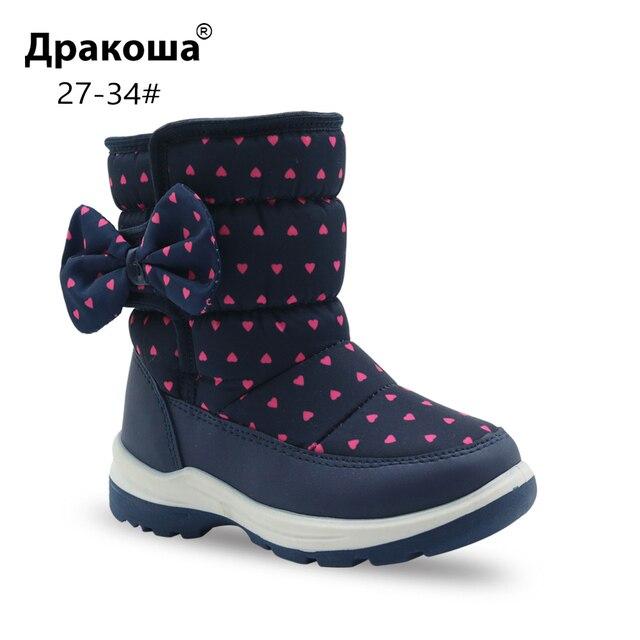 Apakowa Девичьи зимние сапоги Детская мода до середины икры шерстяной подкладкой зимние сапоги для маленьких девочек мокрый снег погода обувь с бантом