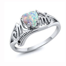 2019 Fashion Love Mum Heart Sharped Stone Ring Jewelry Best Gift for Mother Party Band Rings Jewelry Mujer Anillos Size 5-10(China)