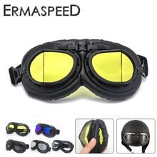 Мотоциклетные очки Ретро Винтаж Мото шлем из искусственной кожи стимпанк очки мотоцикл UV400 Скутер ATV грязи Байкер очки