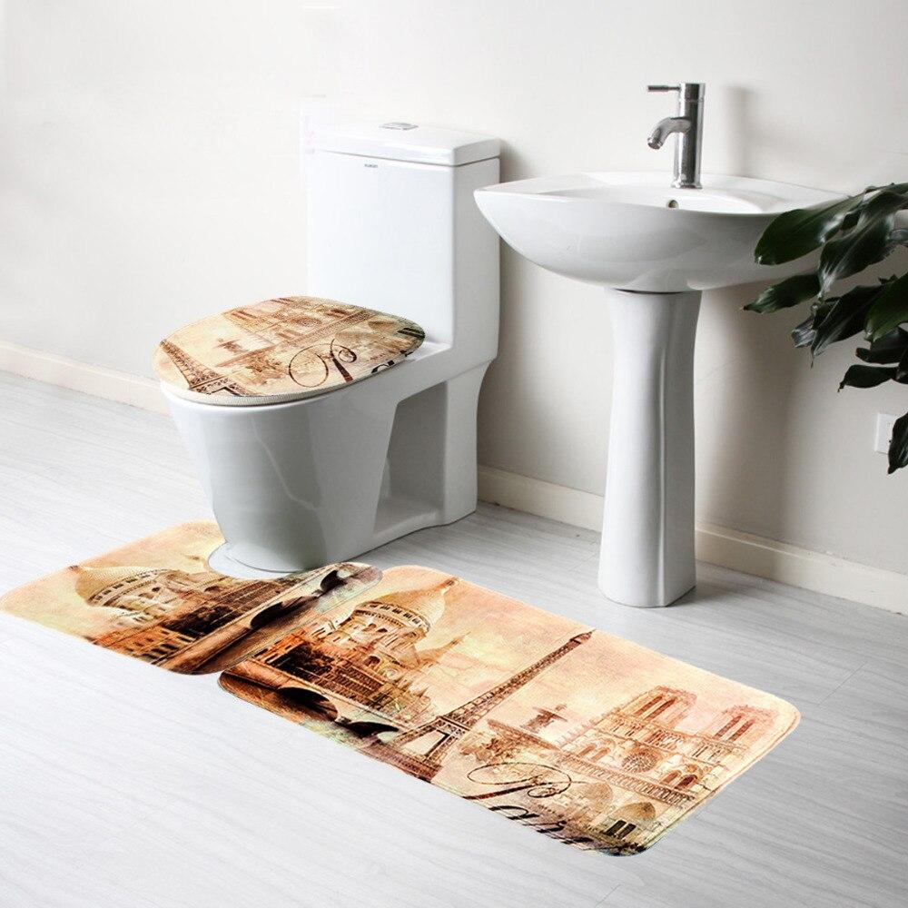 3pcs/set Bathroom Bath Mat Sun Of Beach Bathroom Slip Mat Toilet Seat Covers Set Bathroom Accessories Bath Mat Set Pedestal Rug