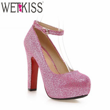 2016 New Fashion High Heels Ankle Strap Women Pumps Sexy Embossed High Heels Platform Shoes Woman Size 32-43 Party Women Shoes