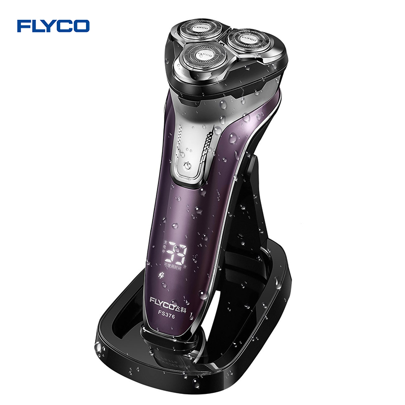 Flyco 3D floating head Rechargeable Portable body washable Electric Shaver Led Light Fast Charge Triple Blade barbeador FS376 электробритва flyco 3d fs370fs372