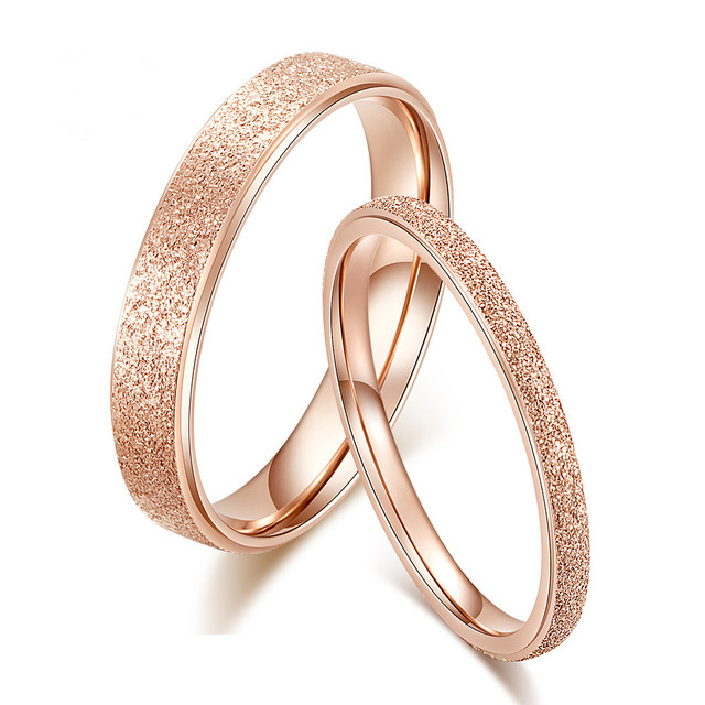 Classic Simple matte Narrow/Wide Rings Stainless Steel for Women Trendy ring Ros