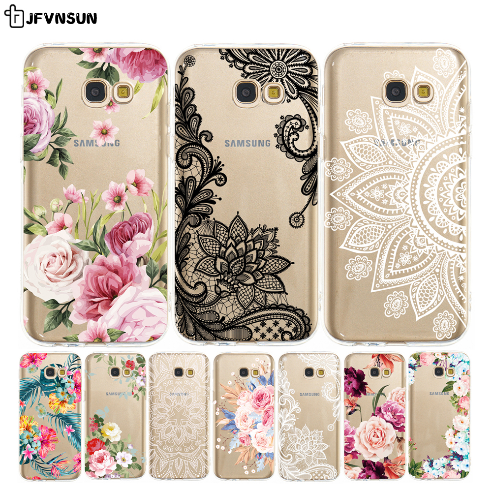 For Samsung A5 <font><b>2017</b></font> Case on samsung A5 <font><b>2017</b></font> A520 Case 3D Relief Flower Clear TPU Case for SAMSUNG Galaxy A5 A <font><b>5</b></font> <font><b>2017</b></font> A520F Cover image