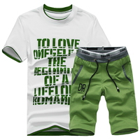 T Shirt Shorts Casual Suit 2017 Summer New Men S O Neck Slim Fit Leisure Cotton