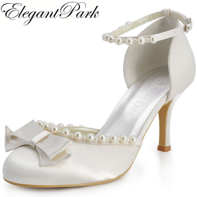 f58932ded6f EP11067 Ivory Sweet Girl Round Toe Bow Pearls Ankle Strap Satin Bridal  Pumps High Heels Women Wedding Shoes