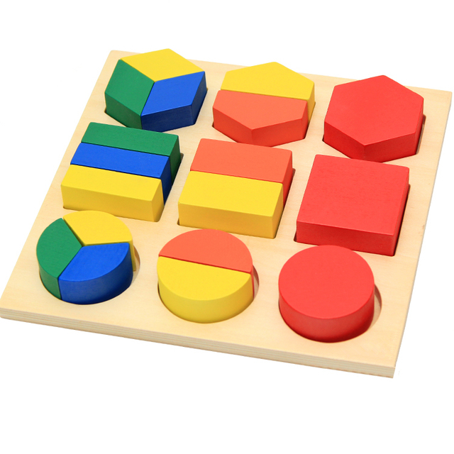 Montessori Materials Kids Baby Wooden Learning Geometry Educational Toy Puzzle Montessori Early Learning Toys