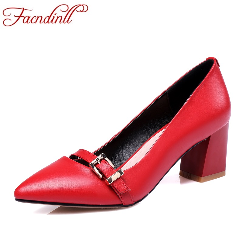 FACNDINLL shoes 2017 autumn women pumps genuine leather high heels pointed toe red shoes woman dress party office ladies pumps