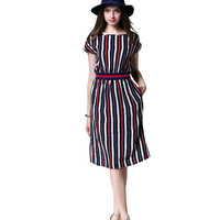 2016 Summer Brief Dress Women Red And Black Striped Batwing Sleeve Elastic Waist Knee Length Shift