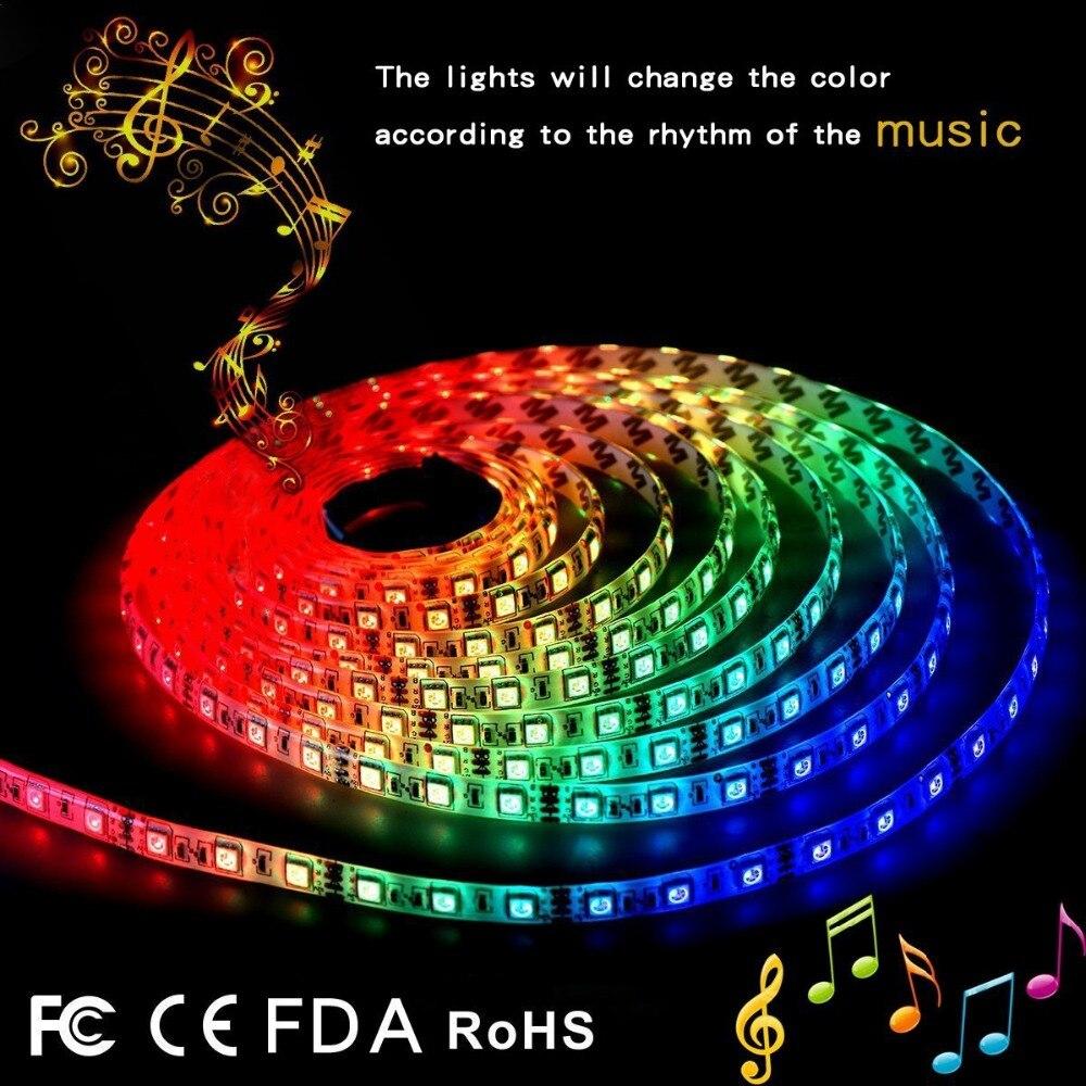 IP65 RGB 5 M musique LED bande lumière lampe SMD 5050 noël bureau décor lampe bande pour TV fond éclairage EU US UK AU