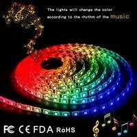 IP65 RGB 5M Music LED Strip Light Lamp SMD 5050 Christmas Desk Decor Lamp Tape For TV Background Lighting EU US UK AU