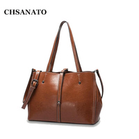 CHSANATO Real Oil Wax Leather Women Tote Bags Female Fashion Designer Handbags High Quality Office Ladies Shoulder Bags 2018