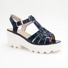 купить LIDIAN  Blue Patent leather Sandals Buckle strap white platform shoes leather inside по цене 1828.88 рублей