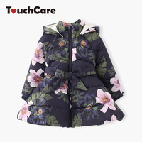 Girls Hooded Flower Coat Kids Padded Fleece Jacket Baby Thick Warm Outerwear Children Winter Overall Clothes Snowsuit