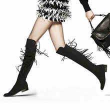 Knee High Fringe Boots Suede/Leather Wedge Boots Women Stovepipe Tassel Stretch Boots Low-heeled Winter Bootie Bottes Femmes