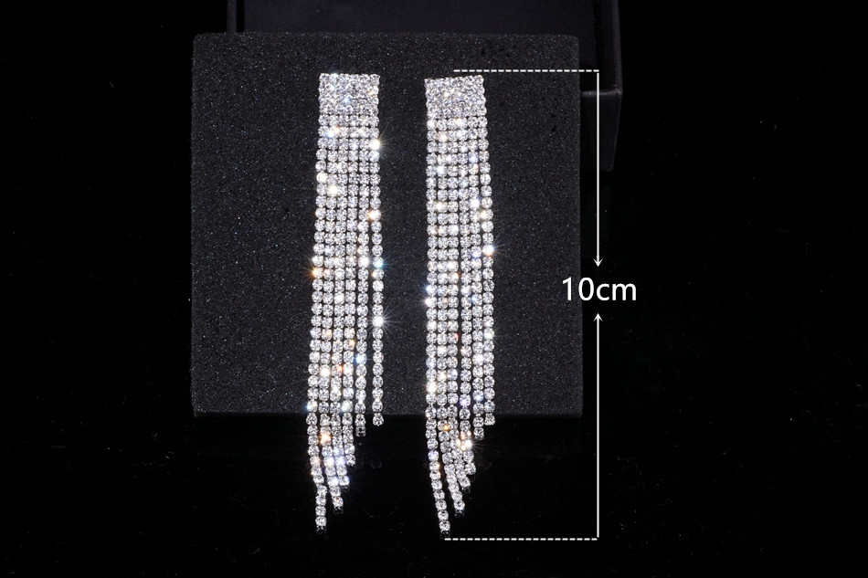 HTB1XVvka8DH8KJjSszcq6zDTFXaa - New Silver Color Rhinestone Crystal Long Tassel Earrings for Women Bridal Drop Dangling Earrings Brincos Wedding Jewelry WX006