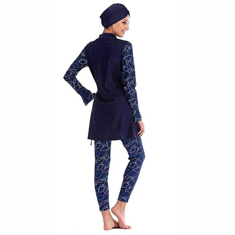 Muslim Swimwear Women Modest Patchwork Hijab Long Sleeves Sport Swimsuit Islamic muslimah Burkinis Wear Bathing Suit 4XL