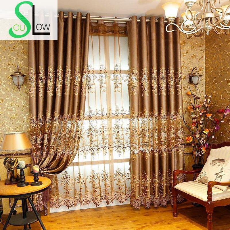 Slow Soul European Style Hollow Water Soluble Embroidered Gold Curtain Curtains For Living Room Bedroom Kitchen Luxury And Tulle