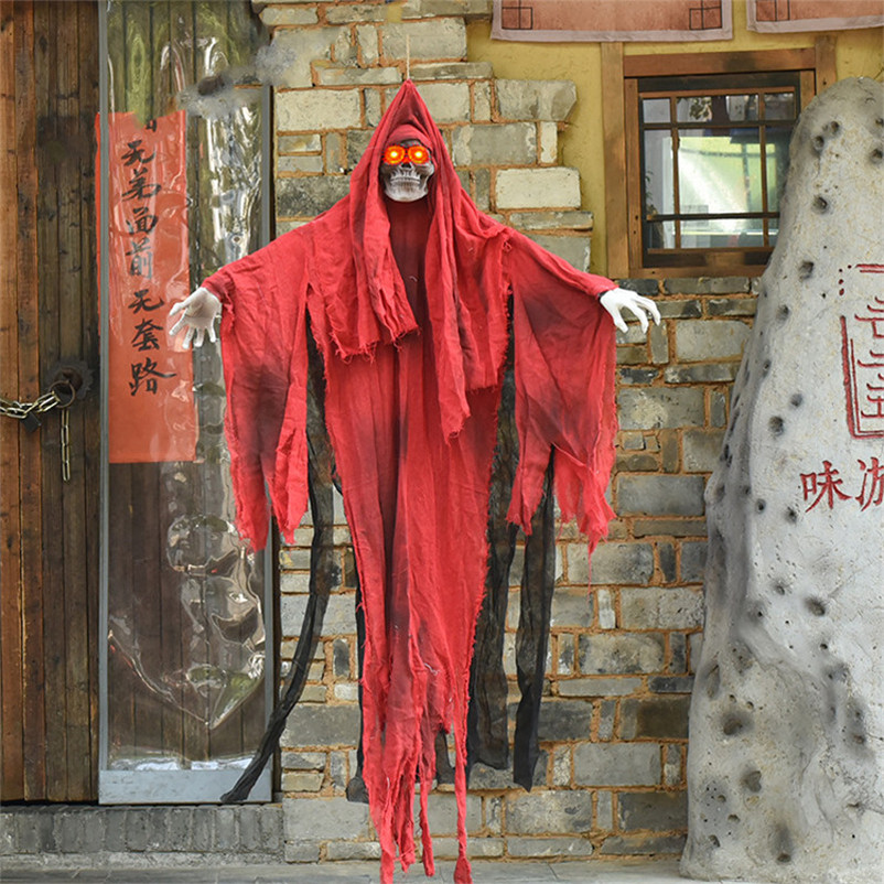 Red Hanging Ghost Doll Decoration Halloween Party Electric Ghost Creepy Eyes Glowing Make Scary Sound Halloween Decor Supplies
