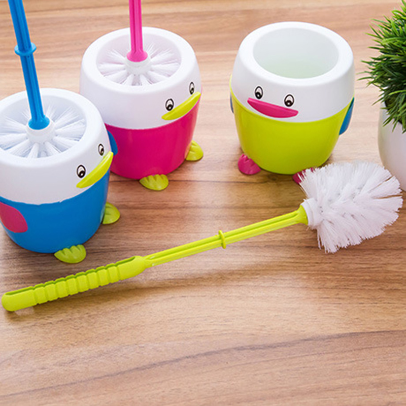 Hot Sale Plastic Cartoon Penguin Toilet Cleaning Brush Holder Non