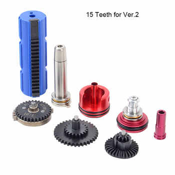 16:1 High Speed Gear 14 15 Teeth Piston Spring Guide Cylinder Piston Head Nozzle Tune-Up Set for ar15 M4 AK series Airsoft AEG