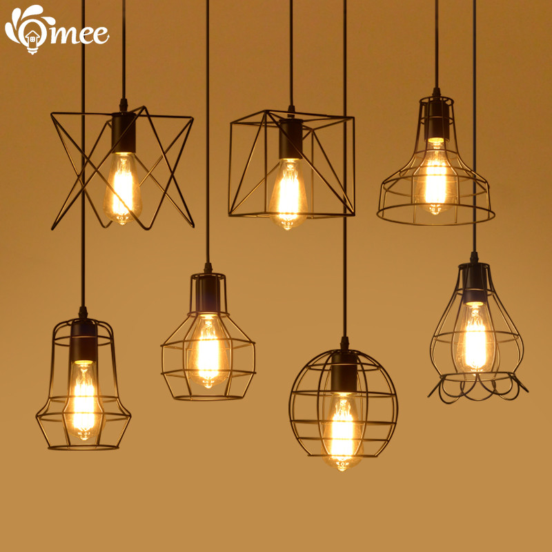 Small Vintage Bar Lights: 13 Small Cage Vintage Iron Pendant Light Industrial Loft