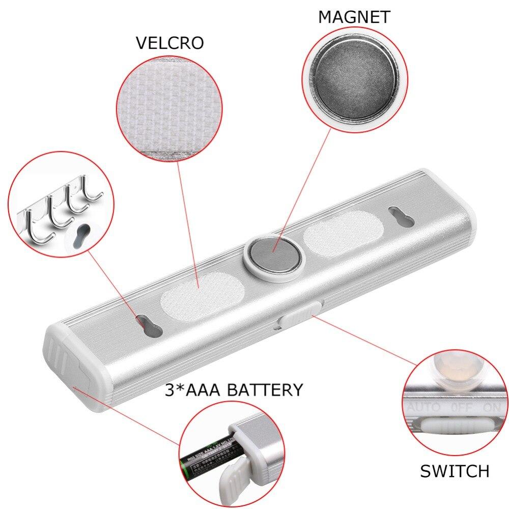 PANYUE 10 stücke LED Unter Kabinett Licht Motion Sensor Lampe beleuchtung für Schrank Schrank Schrank Küche nacht licht magnet - 4