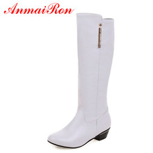 ANMAIRON High Heel Boots Women Slip-on Long Female  Shoes Woman Black White Gray Colors Fashion Square